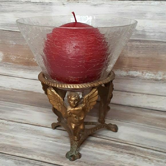 Brass angel/crackled glass candle holder